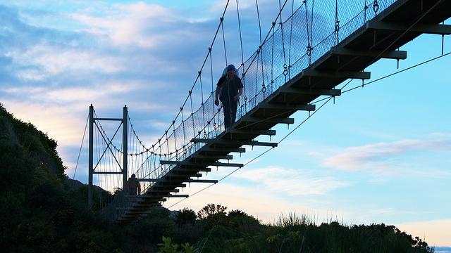 walking over bridge