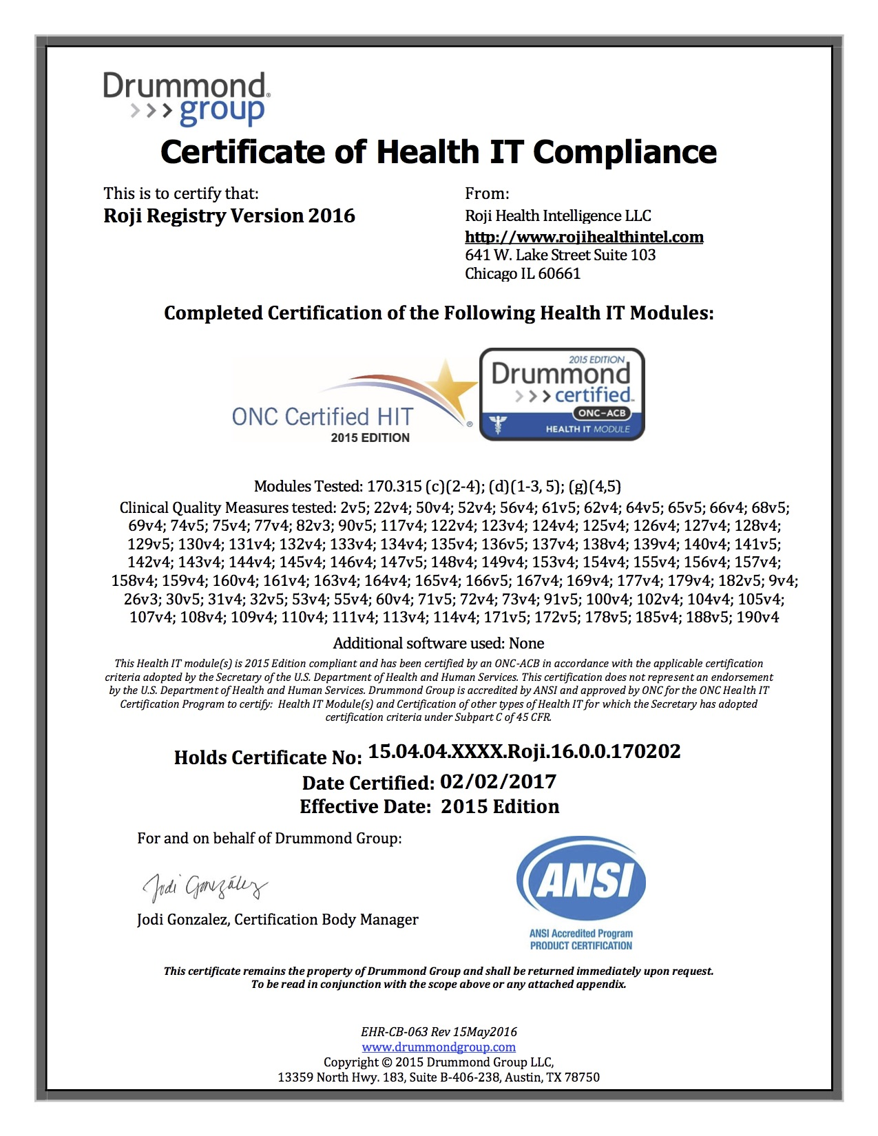 Roji Registry Onc Health It Certification Roji Health Intelligence